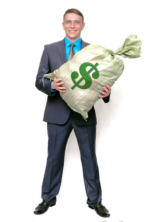 Business man with profit money bag. The lucky winner. Earnings from financial investments.