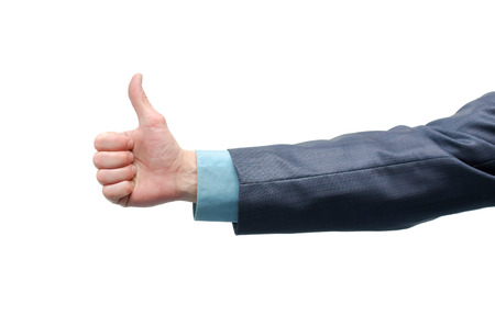 Businessman hand is showing a thumbs up gesture sign isolated on white background.
