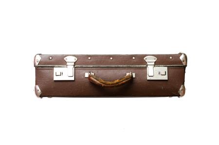 Retro suitcase isolated on the white background. Stock Photo