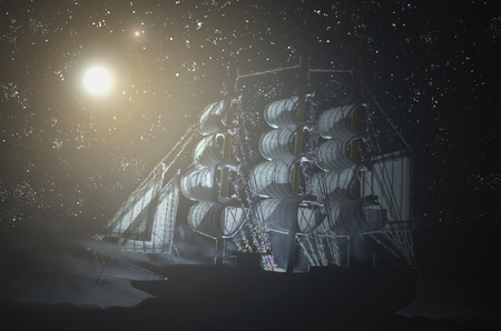 Pirate ghost ship in a night smoky sea background.