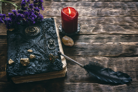 Ancient magic book, Limonium flower stem, inkwell and a quill pen on a wooden table background. Spell book.