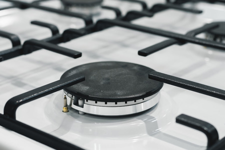 Modern gas stove surface close up background. Stock fotó