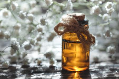 Gypsophila flower essential oil in a bottle on a wooden board background. Herbal medicine. Banco de Imagens