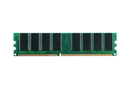 Old computer ram module isolated on a white background.