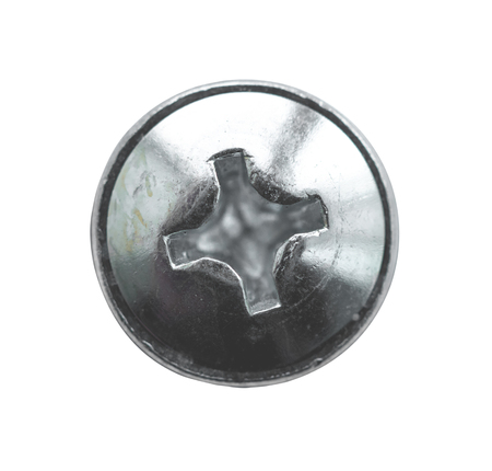 Galvanized screw with cross top isolated on a white background.
