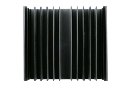 Macro photo of black CPU radiator isolated on a white background.