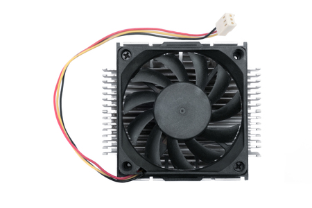 A black CPU fan on a radiator background.