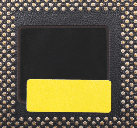 Old CPU computer chip border frame background.