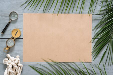 Treasure map template on a wooden board background.