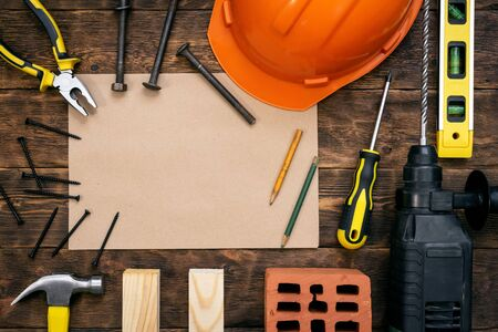 Fix list mockup. Construction tips or house project plan document template. Construction concept background with a copy space.