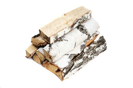 Birch log isolated on white background. Firewood. Banque d'images