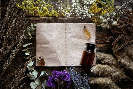 Various dried plants and herbs, essential oil bottle and a blank page recipe book mock up on a wooden table background with copy space. Herbal medicine.
