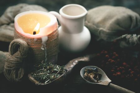 Witch doctor table with various dried ingridients above. Witchcraft concept. Stock Photo