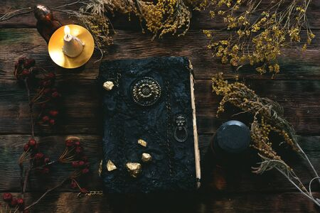Magic recipe book of witch doctor, dried herbs and a magic potion on a wooden table. Witchcraft background. Druidism. Stock Photo
