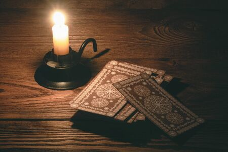 Tarot cards on the table of fortune teller concept. 写真素材