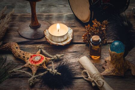 Witchcraft table. Witch doctor. Shamanic accessories.