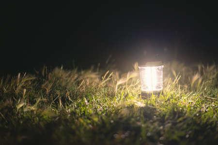 Touristic flashlight at night on green grass background.