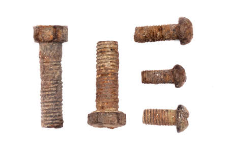 Old rusty bolts isolated on the white background.