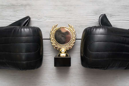 Boxing gloves and golden award trophy medal on the gray flat lay background.