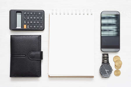 Business accessory on the table flat lay background. 免版税图像