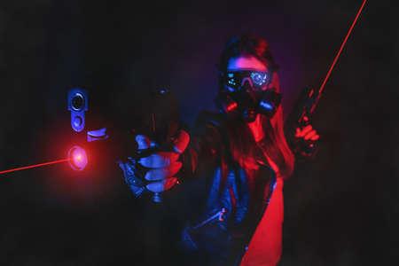 A cyberpunk girl with a guns concept.