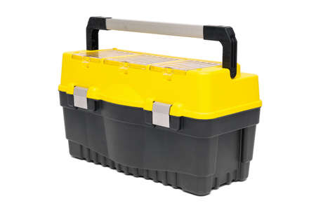 Plastic tool box container isolated on the white background.