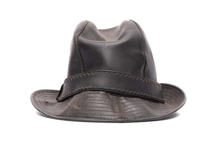 Black leather hat isolated on the white background.