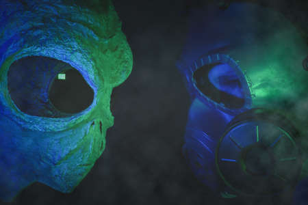 Human vs alien concept. Space confrontation. Soldier in gas mask standing face to face with a humanoid.
