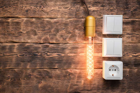 Electric light bulb and switch on the brown wooden wall background with copy space. 写真素材