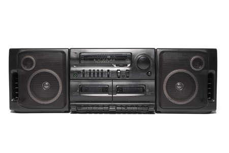 Retro tape recorder isolated on a white background. Radio cassette corder front view. Foto de archivo