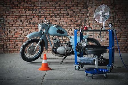 An old garage concept background.