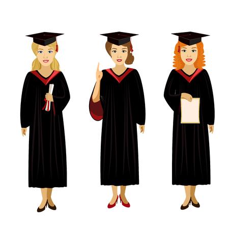 toga y birrete: ilustraci�n vectorial aislado car�cter de la muchacha vestido de soporte diploma de graduado casquillo de la sonrisa Vectores