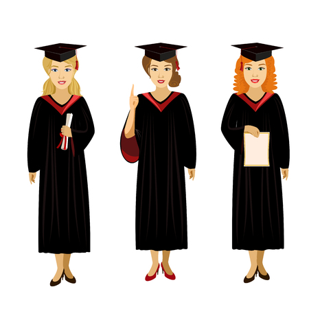 cap and gown: vector illustration isolated character girl graduate diploma smile cap gown stand Illustration