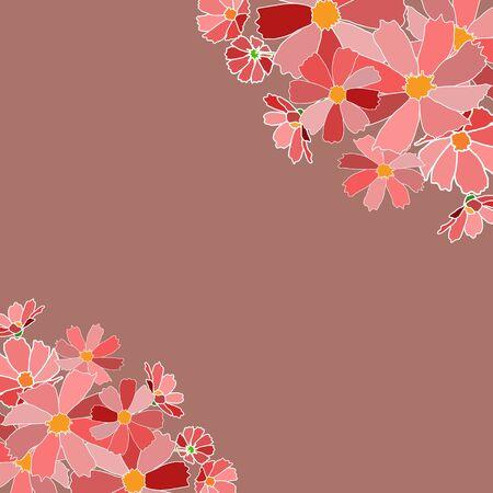 claret: vector illustration background card claret shades op pink flowers bouquet frame