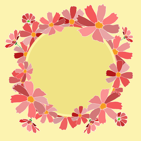 claret: vector illustration background card claret shades op pink flowers bouquet frame yellow