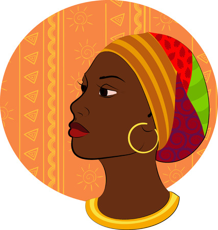 red head girl: vector illustration of a girl head profile silhouette hairstyle African ethnic bandage for a head isolated red full lips