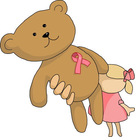childhood cancer: vector girl holds a bear whith a pink ribbon on his chest, the day of the figt against breast cancer, support, gift, birthday