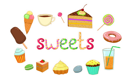 ice tea: vector isolated white background sweet cake donut ice cream tea coffee juice lemonade candy