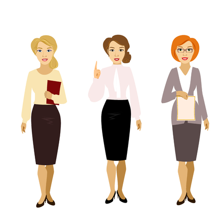 skirt suit: vector illustration of isolated different girl woman teacher skirt suit blouse shirt business assistant secretary glasses , teachers day Illustration