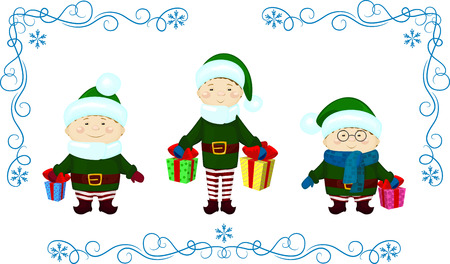 elfs: vector Illustration of elfs with presents christmas