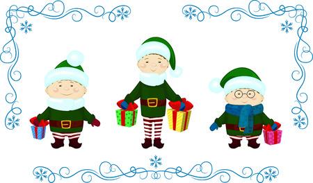 elfs: vector Illustration of elfs with presents christmas