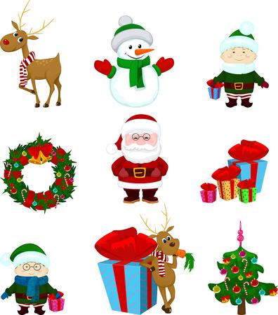 Christmas icons deer reindeer snowman elf gift santa tree ribbon