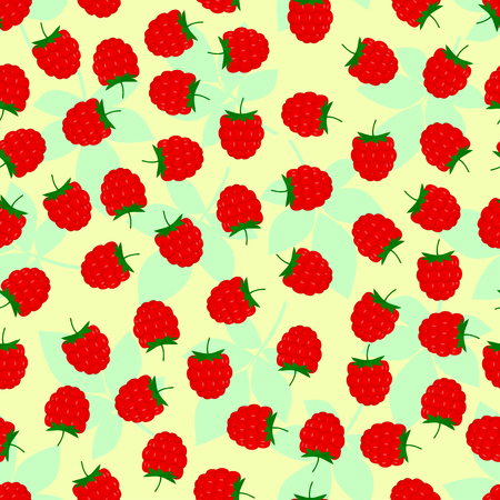 raspberries: Raspberries seamless pattern vector spring summer background Illustration
