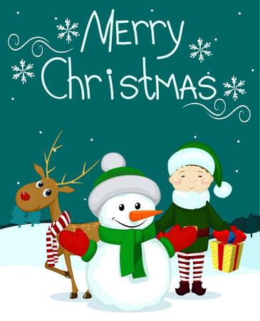 Santa and friends elf gift snowman deer marry christmas card