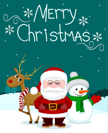 marry christmas: Santa and friends deer snowman marry christmas card Illustration