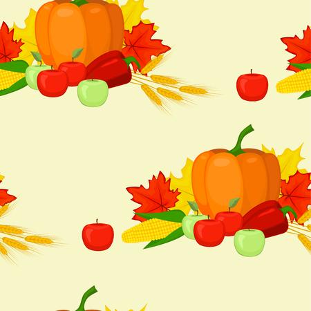 fall harvest: seamles background fall harvest pumpkin leaves apples pepper corn ears