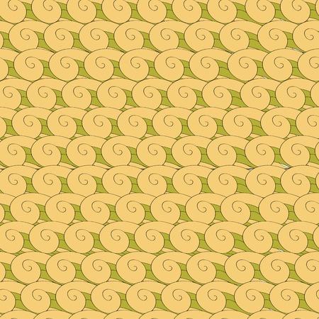 endless: seamless pattern vortex whorl endless green yellow