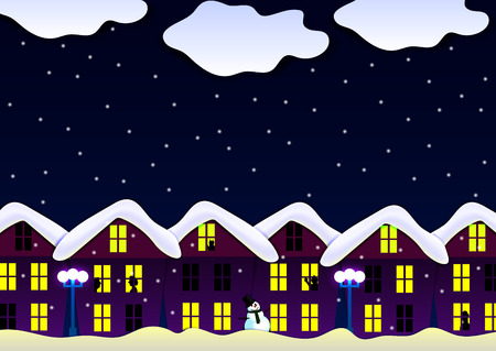 snowcovered: illustration of a night scene of a snow-covered house lights in the windows lights silhouettes snowman snow