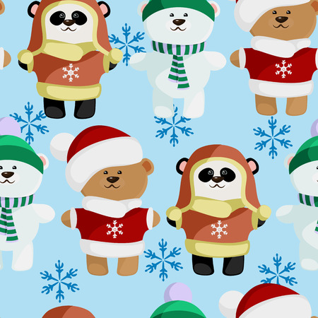 baby bear: vector cute baby bear in clothes pattern