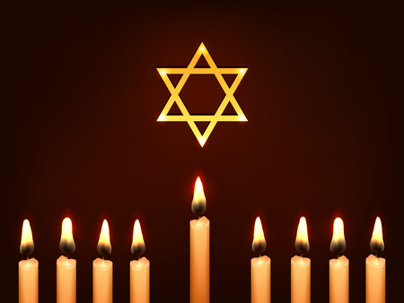 chanukkah: Nine Candles and Star of David on a dark background - sketch illustration for Hanukkah Chanukah. Greeting card for traditional jewish holiday. Illustration